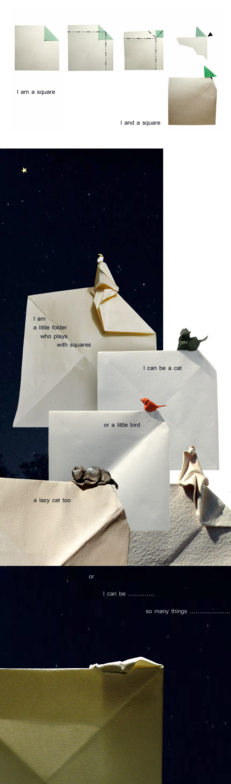 I am-and a Square, origami sculptures by Giang Dinh